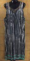 Women's Dress Size 2X Knee Length Black White Pencil Stretch Knit Beaded Neck