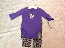 "Carters NEWBORN Girl Bodysuit Pant Set Purple/Cheetah Print Cat ""Purrfect"" -NWT!"