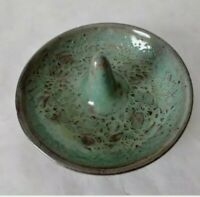 Vtg Ring Holder Stoneware Hand Thrown Trinket Dish Strawberry signd a11 Green