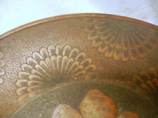 Large ANTIQUE PRIMITIVE Decorative WOOD PLATE ORIGINAL HANDPAINTED late 1800's