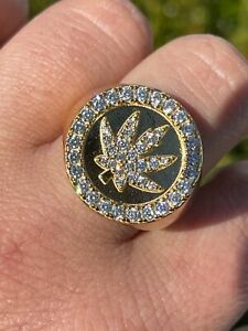 14k Gold & Solid 925 Sterling Silver Iced Weed Marijuana Leaf Ring Flooded Out