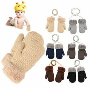 Toddler Baby Boys Girls Winter Warm Knitted Gloves Mittens with Neck String N#