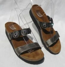 NAOT MARISSA Distressed Metal Rhinestone Low Wedge Heels Sandals Shoes 41 US 10