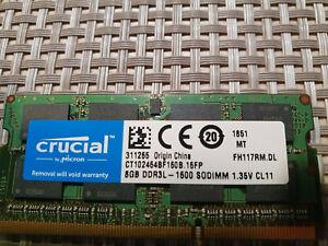 Mémoire RAM 8GB CRUCIAL DDR3L-1600 1.35v cl11 - Réf CT102464BF160B . M16FP 1851