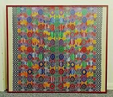 More details for large, red-framed & glazed, 20th century, hand-woven, colourful textile