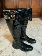 Authentic CHANEL Coco Mark Long Knee Boots Patent Leather Black 37 UK 4