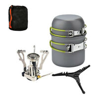 Portable Gas Camping Stove Butane Propane Burner Outdoor Hiking Picnic+ Cookware
