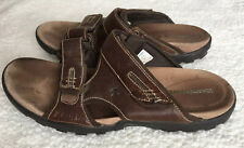 Dunham Brown Leather Open Toe Slip On Straps Sandals Size 11 D Men's