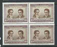 CHILE 1960 Marín Argomedo 10 centesimos on block of 4 MNH