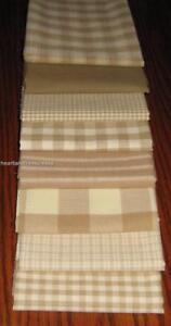 Dunroven House 8 Primitive Homespun Wheat & Cream Fabric  Fat Quarter Bundle