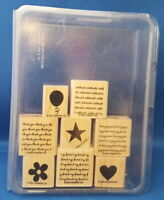 MINI MESSAGES 8pc Set - Stampin' Up Wood Rubber Stamp in Case