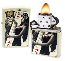 Zippo 29393 Skull King Queen Beauty Hearts Cream Matte Finish Windproof Lighter
