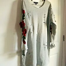 Almost Famous Dress Plus Size 2x Gray Rose Sleeves Nwt