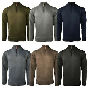 Mens Soft Half Zip Funnel Neck Pullover Jumper Sweater Long Sleeve Top S-XXL New
