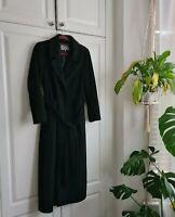 Jaegar Women's Long Full length Black Wool Mix Winter Belted Coat