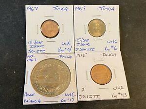 TONGA  1967  &  1975  4  COIN  SENITI  PA' ANGA  UNC  LOT  Z14
