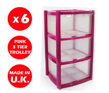 6 x 3 DRAWER PLASTIC STORAGE DRAWER - CHEST UNIT - TOWER - WHEELS - TOYS - PINK