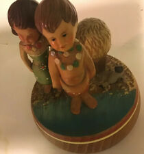 Vintage German Reuge Wood Music Box Go Around Hawaiian Children Tiny Bubbles