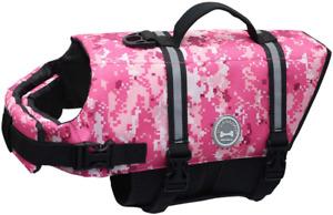 Vivaglory Ripstop Dog Life Jackets Reflective Life Vest Pink Camo Large - New