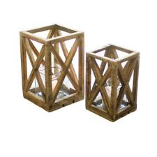 Recycled Wood Square Glass Insert Pillar Candle Lantern Set 2 Hurricane Display