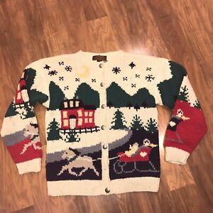 EDDIE BAUER Sweater Knit Cardigan vtg '89 Sleigh Holiday Christmas Womens MEDIUM