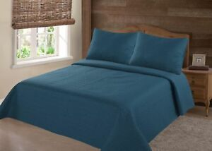 2/3 PC Stippling Stitch Bed Dressing Bedding Quilt Set Bedspread W/Shams NENA