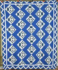 GORGEOUS Vintage 30's Blue & White Baskets Cake Stand Antique Quilt ~Zigzag Bdr!