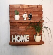 Regal Wandregal Palettenmöbel gebeizt braun 3 D Effekt Board Küche #17