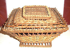 Unusual Antique  Victorian Wicker sewing basket, lovely design