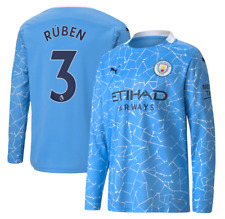 A118 Kids 13-14yrs Manchester City Home Shirt L/S 2020-21 with Ruben 3 cup print