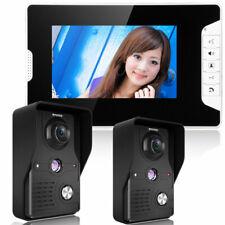 """7"""" LCD Video Door Phone Doorbell Home Intercome Security 2 IR Camera 1 Monitors"""