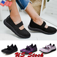 US Women's Woven Flat Sneakers Casual Shoes Mesh Comfy Athletic Loafers Shoes