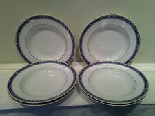 A Beautiful Set of Six Raynaud Limoges Biarritz Rimmed Soup Bowls
