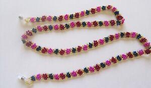Spirit of Nature Eye Glass Holder Chain- Beads Flower- pink red gold blue
