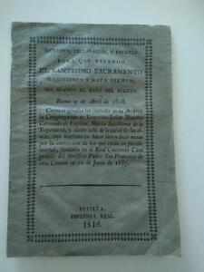 1816 Dictamen Declaracion y Decreto para que Estando el Santisimo Sacramento ...