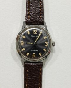 Vintage CROTON Stainless SS  Men's Wrist Watch Clamshell Leather Band RUNNING