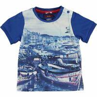 T-Shirt in Cotone Blu con Stampa Bambino Sarabanda Q525