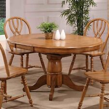 Oak Pedestal Dining Table Wooden Round/Oval Leaf Office Furniture Kitchen Tables