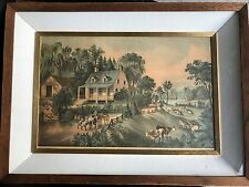 2 Currier & Ives painting reproduction prints - winter and farm scenes