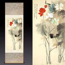 Chinese Silk Scroll Painting Beautiful Lotus Zhang Daqian Home Office Decoration