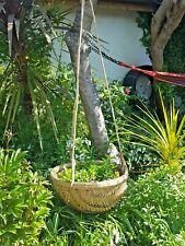 2 vintage round bamboo storage baskets  pair