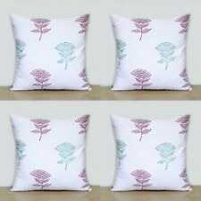 Green & Red Rose Floral 4 Pcs Indian Hand Block 16x16 Pillow Case Cushion Covers