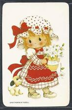 #915.222 Blank Back Swap Cards -MINT- Girl in red with flowers & puppy