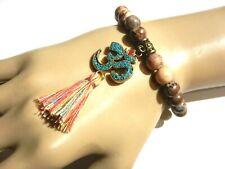 NATURAL JASPER MALA BEADS beaded bracelet turquoise mosaic Om pendant tassel U4