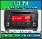 AUDI TT CD MP3 Player, CONCIERTO radio de coche unidad principal Muñeca + llaves