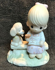 """Precious Moments """"LOVING IS SHARING"""" Figurine Dated 1979 #E-3110/G Girl w/ Puppy"""