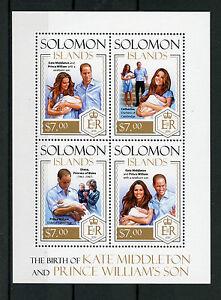 Solomon Islands 2015 MNH Prince George Birth Royal Baby 4v M/S William Kate