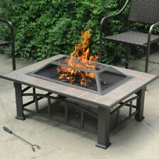 Rectangular Fire Pit Table Fireplace Outdoor Top Patio Backyard Cooking Bbq Tile