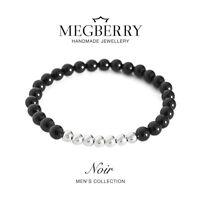 MEGBERRY® Mens Gemstone Bracelet - Black Onyx & 925 Sterling Silver Custom Size