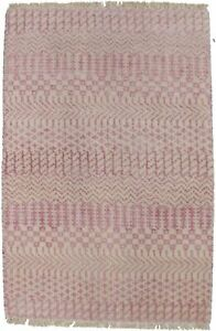 Modern Wool Hand-Knotted Small Pink 2X3 Grass Design Oriental Area Rug Carpet